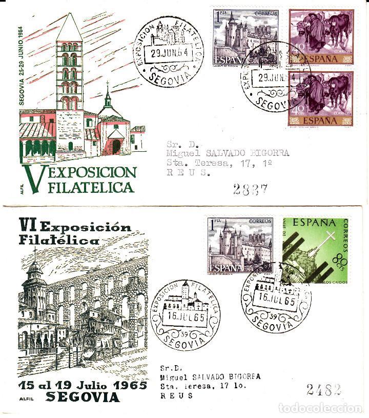 LOTE 2 MATASELLOS DE SEGOVIA 1964-1965 (Sellos - Historia Postal - Sello Español - Sobres Primer Día y Matasellos Especiales)