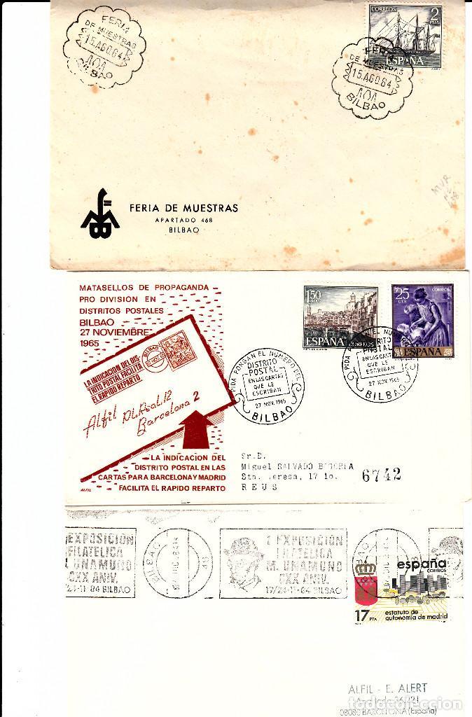 LOTE 3 MATASELLOS DE BILBAO 1964-1965-1984 (Sellos - Historia Postal - Sello Español - Sobres Primer Día y Matasellos Especiales)