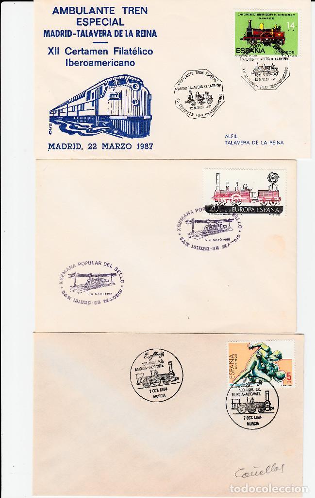 LOTE 3 MATASELLOS DE TRENES - FERROCARRIL -TALAVERA-MADRID-MURCIA (Sellos - Historia Postal - Sello Español - Sobres Primer Día y Matasellos Especiales)