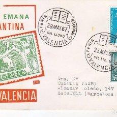 Sellos: DON QUIJOTE CERVANTES SEMANA CERVANTINA, VALENCIA 1967. RARO SOBRE DE EG MATASELLOS FERIA DEL LIBRO.. Lote 70030521