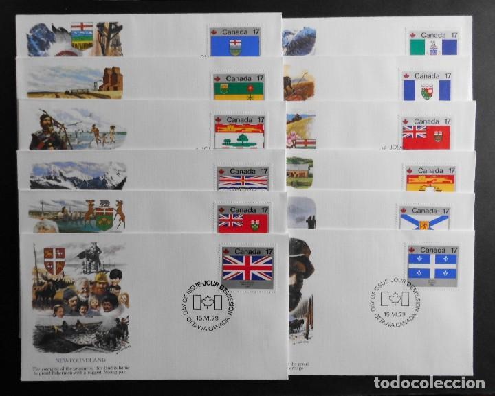 CANADA BANDERAS PROVINCIALES Y TERRITORIALES 15 VI 1979, FDC PROVINCIAL AND TERRITORIAL FLAG STAMPS (Sellos - Historia Postal - Sello Español - Sobres Primer Día y Matasellos Especiales)