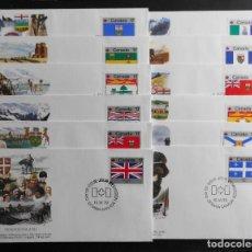 Sellos: CANADA BANDERAS PROVINCIALES Y TERRITORIALES 15 VI 1979, FDC PROVINCIAL AND TERRITORIAL FLAG STAMPS. Lote 70067165