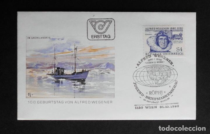 AUSTRIA FDC THE 100TH ANNIVERSARY OF ALFRED WEGENER 10 OCTUBRE 1980 (Sellos - Historia Postal - Sello Español - Sobres Primer Día y Matasellos Especiales)