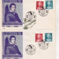 Sellos: RARA VARIEDAD LEANDRO FERNANDEZ DE MORATIN II CENTENARIO 1961 (EDIFIL 1328/29) EN SPD DE ALONSO RARO. Lote 31532126