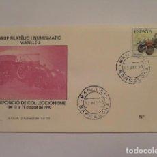Sellos: SOBRE DEL PRIMER DIA COMMEMORATIVO 2ª EXPOSICIO DE COLECCIONISME MANLLEU 1990 (COCHE ANTIGUO). Lote 72321415