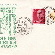 Sellos: SOBRE MATASELLOS EXPOSICION FILATELICA OVIEDO 1959 - ESPERANTO NORDO. Lote 72830247