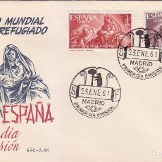 Sellos: RELIGION PINTURA BAYEU AÑO MUNDIAL DEL REFUGIADO 1961 (EDIFIL 1326/27) SPD SERVICIO FILATELICO. RARO. Lote 74098163