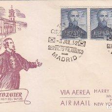 Sellos: SAN FRANCISCO JAVIER IV CENTENARIO 1952 (EDIFIL 1118 TRES SELLOS) SOBRE PRIMER DIA CIRCULADO ALFIL.. Lote 35939499
