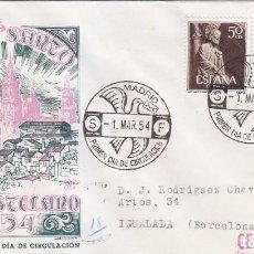 Sellos: AÑO SANTO COMPOSTELANO 1954 (EDIFIL 1130/31) EN SOBRE PRIMER DIA CIRCULADO DE DP. BONITO Y RARO ASI.. Lote 74204571