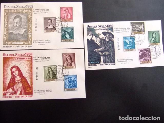 ESPAÑA ESPAGNE 1962 FDC 141-144 PINTURAS DE ZURBARAN EDIFIL 1418 -1427 YVERT 1083 /1092 (Sellos - Historia Postal - Sello Español - Sobres Primer Día y Matasellos Especiales)