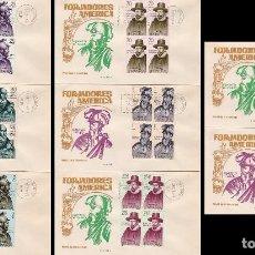 Sellos: EDIFIL 1622/9, FORJADORES DE AMERICA 1964 PRIMER DIA 12-10-1964 EN 8 SOBRES DE GOMIS CON BLOQUE DE 4. Lote 76112887
