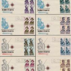 Sellos: EDIFIL 1622/9, FORJADORES DE AMERICA 1964, PRIMER DIA 12-10-1964 EN 3 SOBRES DE ARRONIZ CON BLOQUE 4. Lote 76113151
