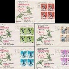 Sellos: EDIFIL 1617/21, JUEGOS OLIMPICOS DE TOKIO PRIMER DIA DE 10-10-1964 EN 5 SOBRES DE ALFIL CON BLOQUE 4. Lote 76114987