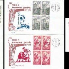 Sellos: EDIFIL 1590/4, FERIA MUNDIAL DE NUEVA YORK PRIMER DIA DE 23-4-1964 EN 5 SOBRES DE GOMIS CON BLOQUE 4. Lote 76125671