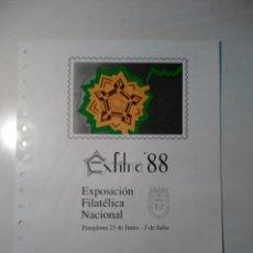 Sellos: DOC FILATELICO. FNMT. EXFILNA 88. PAMPLONA. CONTIENE HOJA BLOQUE CON SELLO Y MATASELLOS ESPECIALES.. Lote 76652771