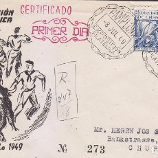 Sellos: TOROS TAUROMAQUIA SAN FERMIN II EXPOSICION, PAMPLONA (NAVARRA) 1949. MATASELLOS RARO SOBRE ILUSTRADO. Lote 36796034