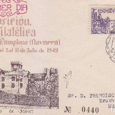 Sellos: CASTILLO DE JAVIER II EXPOSICION, PAMPLONA (NAVARRA) 1949. MATASELLOS EN SOBRE CIRCULADO. EL CID.. Lote 78068897