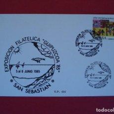 Sellos: TARJETA - EXPO. FILATELICA GUIPUZCOA 85 - MATASELLO - SAN SEBASTIAN 1985.. R-4965. Lote 78788501