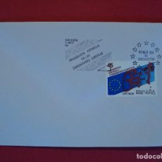 Sellos: SOBRE PRIMER DIA - MATASELLO PRESIDENCIA ESPAÑOLA COMUNIDADES EUROPEAS - BARCELONA 1989.. R-4989. Lote 78820837