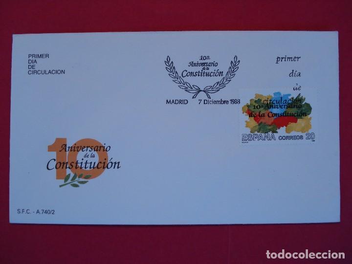 SOBRE PRIMER DIA - 10 ANIVERSARIO DE LA CONSTITUCION - MATASELLOS - MADRID 1988.. R-5007 (Sellos - Historia Postal - Sello Español - Sobres Primer Día y Matasellos Especiales)