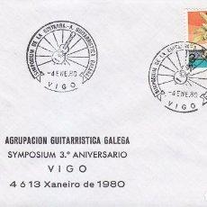 MUSICA GUITARRA SIMPOSIUM, VIGO (PONTEVEDRA) 1980. RARO MATASELLOS EN SOBRE CON BONITA ILUSTRACION.