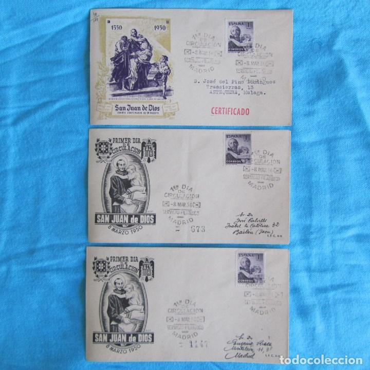 1950. TRES SOBRES PRIMER DÍA. SAN JUAN DE DIOS (Sellos - Historia Postal - Sello Español - Sobres Primer Día y Matasellos Especiales)