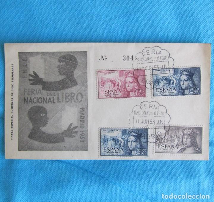 1953. SOBRE PRIMER DÍA FERIA NACIONAL DEL LIBRO MADRID (Sellos - Historia Postal - Sello Español - Sobres Primer Día y Matasellos Especiales)