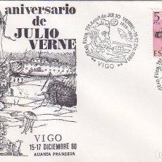 Sellos: JULIO VERNE 75 ANIVERSARIO EXPOSICION VIGO PONTEVEDRA 1980 RARO MATASELLOS SUBMARINO SOBRE ILUSTRADO. Lote 27714459