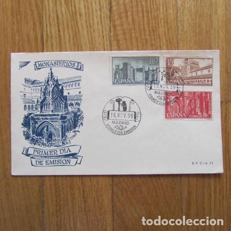 1959. SOBRE DE PRIMER DÍA MONASTERIOS (Sellos - Historia Postal - Sello Español - Sobres Primer Día y Matasellos Especiales)