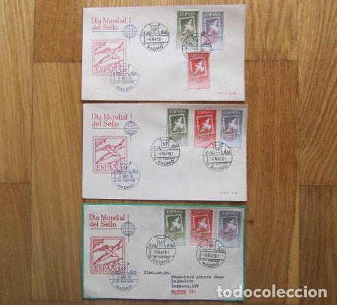 1961. TRES SOBRES PRIMER DÍA DÍA MUNDIAL DEL SELLO (Sellos - Historia Postal - Sello Español - Sobres Primer Día y Matasellos Especiales)