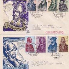 Sellos: FORJADORES DE AMERICA 1961 (EDIFIL 1374/81) EN DOS SOBRES PRIMER DIA CIRCULADOS DE DP. RAROS ASI. . Lote 80385533