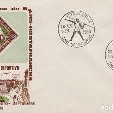 Sellos: AÑO 1960, AÑO OLIMPICO, LANZAMIENTO JABALINA, MATASELLO SANS HOSTAFRANCHS, SOBRE DE ALFIL. Lote 97595894