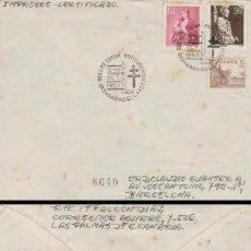 AÑO 1954, EXPOSICION LUCHA ANTITUBERCULOSA EN SABADELL, SOBRE CIRCULADO