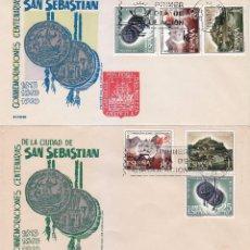 Sellos: RARA VARIEDAD SAN SEBASTIAN CONMEMORACIONES CENTENARIAS 1963 (EDIFIL 1516/18) EN SPD DE ALONSO. MPM.. Lote 87507980