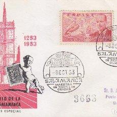 Sellos: VII CENTENARIO UNIVERSIDAD SALAMANCA, SALAMANCA 1953. MATASELLOS EN SOBRE CIRCULADO DE EG. RARO ASI.. Lote 12428346