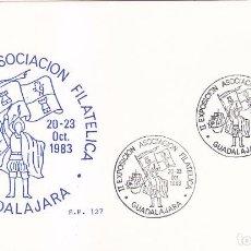 Sellos: CARABELA COLON DESCUBRIMIENTO DE AMERICA II EXPOSICION, GUADALAJARA 1983. RARO MATASELLOS TARJETA SP. Lote 16409078