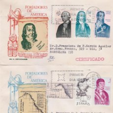 Sellos: FORJADORES DE AMERICA 1967 (EDIFIL 1819/26) EN TRES SOBRES PRIMER DIA CIRCULADOS DE MS. RAROS ASI.. Lote 36170649