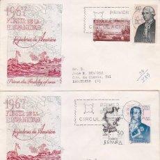Sellos: FORJADORES DE AMERICA 1967 (EDIFIL 1819/26) EN CUATRO SOBRES PRIMER DIA CIRCULADOS ALFIL. RAROS ASI.. Lote 91305515