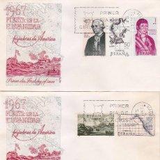 Sellos: FORJADORES DE AMERICA 1967 (EDIFIL 1819/26) EN TRES SOBRES PRIMER DIA DE ALFIL. RAROS ASI.. Lote 91305725