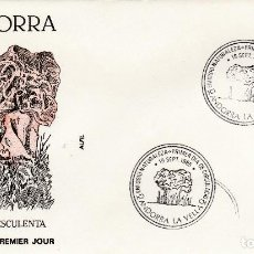 Sellos: ANDORRA 1985 - SOBRE PRIMER DIA MATASELLO - FRANQUEADO Y DIBUJO RELIEVE- SETAS GYROMITRA ESCULENTA. Lote 190644505