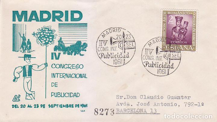DON QUIJOTE PUBLICIDAD IV CONGRESO INTERNACIONAL, MADRID 1961. RARO MATASELLOS EN SOBRE CIRCULADO DP (Sellos - Historia Postal - Sello Español - Sobres Primer Día y Matasellos Especiales)
