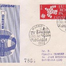 Sellos: DON QUIJOTE PUBLICIDAD IV CONGRESO INTERNACIONAL, MADRID 1961. RARO MATASELLOS SOBRE CIRCULADO ALFIL. Lote 44905329