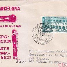 Sellos: ARTE ROMANICO CONSEJO DE EUROPA VII EXPOSICION, BARCELONA 1961. MATASELLOS EN SOBRE CIRCULADO DP.. Lote 6455689