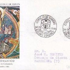 Sellos: ARTE ROMANICO CONSEJO DE EUROPA VII EXPOSICION, BARCELONA 1961. MATASELLOS EN SOBRE CIRCULADO ALFIL.. Lote 92989600