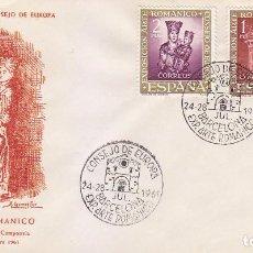 Sellos: RELIGION ARTE ROMANICO CONSEJO EUROPA VII EXPOSICION, BARCELONA 1961 MATASELLOS RARO SOBRE ILUSTRADO. Lote 92989900