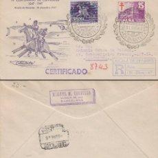 Sellos: 1947, IV CENTENARIO DE CERVANTES, MATASELLO ALCALA DE HENARES EN SOBRE Y SELLO DE CLAVILEÑO, CIRCULA. Lote 94320746
