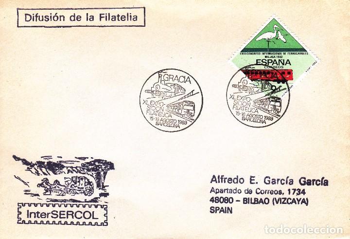 SOBRE: 1989 BARCELONA - GRACIA. XI EXPOSICION FILATELICA (Sellos - Historia Postal - Sello Español - Sobres Primer Día y Matasellos Especiales)