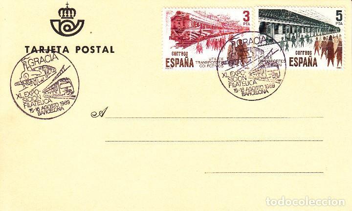 TARJETA: 1989 BARCELONA - GRACIA. XI EXPOSICION FILATELICA (Sellos - Historia Postal - Sello Español - Sobres Primer Día y Matasellos Especiales)