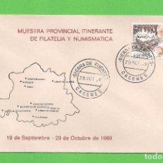Sellos: MUESTRA PROVINCIAL ITINERANTE DE FILATELIA - ''EL BROCENSE''(1989). - CÁCERES - EDIFIL 2870.. Lote 96031371