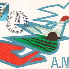 Sellos: INVALIDOS CIVILES ASOCIACION NACIONAL EXPOSICION, ZARAGOZA 1976. MATASELLOS EN RARA TARJETA MODELO 1. Lote 96101783
